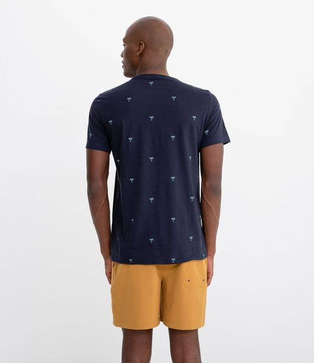 Camiseta Manga Curta Estampa ìcones Coqueiros   Ripping   Azul   PP