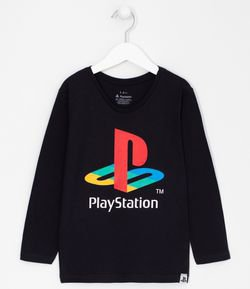 Camiseta Infantil Estampa Playstation - Tam 5 a 14 anos