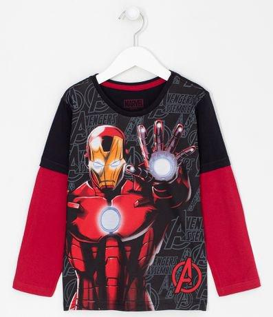 Camiseta Infantil Estampa Homem de Ferro - Tam 4 a 12 anos