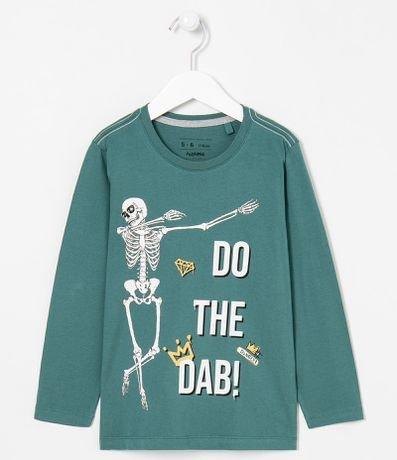 Camiseta Infantil Estampa Esqueleto - Tam 5 a 14 anos