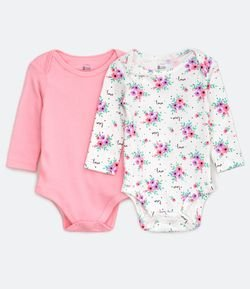 Kit Body Infantil Estampa Floral e um Estampa Lisa - Tam RN a 18 meses