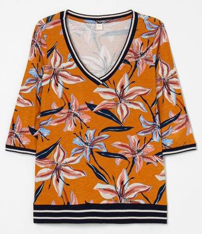 Blusa Estampa Floral Detalhes em Tricô