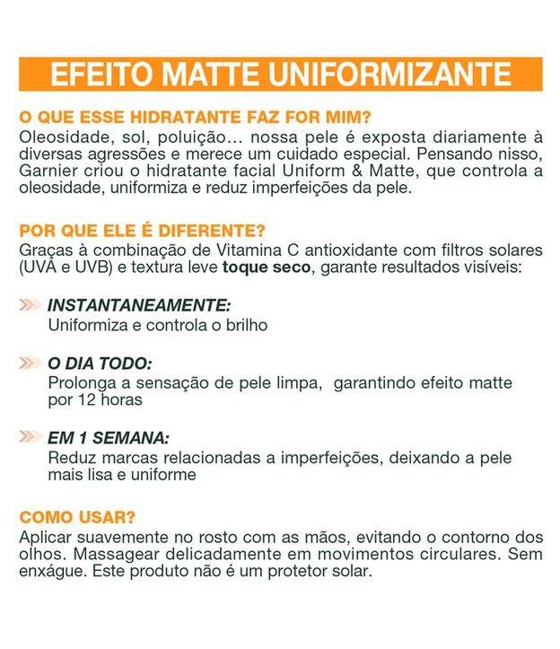 Hidratante Facial Uniform e Matte Vitamina C Garnier Efeito Matte 12hrs | Garnier | 40g