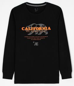 Camiseta Manga Longa com Estampa California