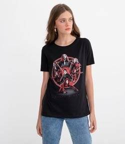Blusa Manga Curta Estampa Black Widow