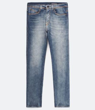 Calça Jeans Reta com Bolsos