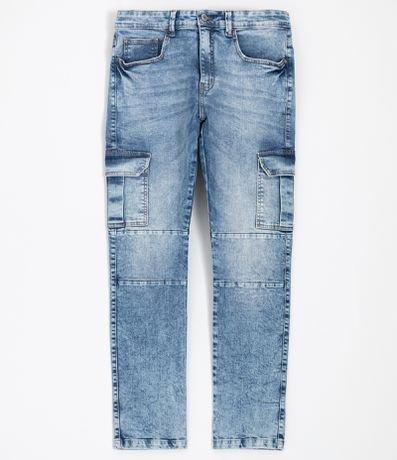 Calça Cargo Jeans Lisa com Bolsos e Recortes