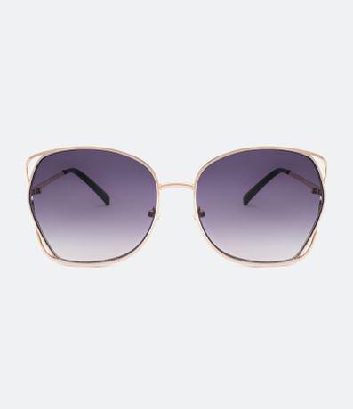 Óculos de Sol Feminino Quadrado com Detalhes na Armação