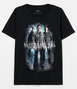 Camiseta Manga Curta Estampa Supernatural Join The Hunt