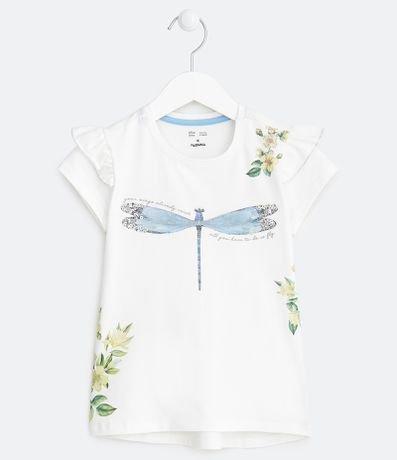 Camiseta Infantil Estampa Libelula com Paetes - Tam 5 a 14 anos
