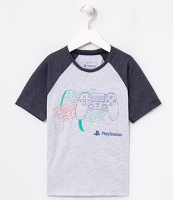 Camiseta Infantil Estampa Controles Playstation - Tam 5 a 14 anos