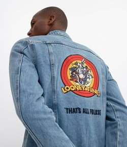 Campera Jeans Lisa con Bordado Looney Tunes