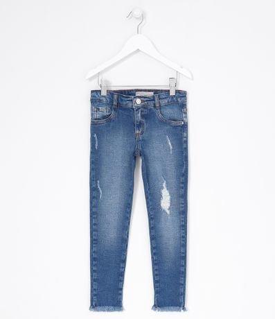 Calça Jeans Infantil Lisa com Barra Desfiada - Tam 5 a 14 anos