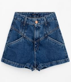 Short Mom Jeans Liso com Recortes