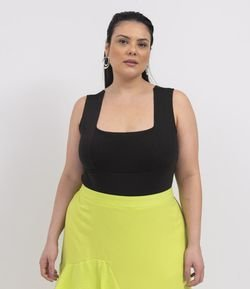 Body Alça Larga Liso com Decote Quadrado Curve & Plus Size