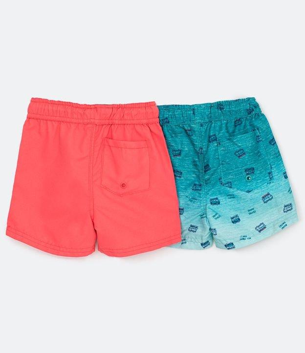 Kit 2 Bermudas de Banho Infantil Lisa e Estampada - Tam 1 a 5 anos | Póim (1 a 5 anos) | Multicores | 01