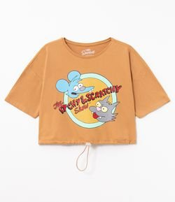 Blusa Manga Curta Estampa Itchy e Scratchy com Regulador