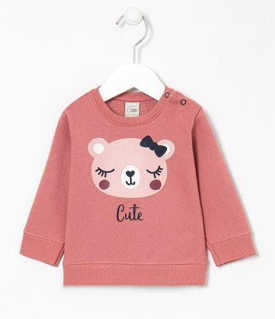 Blusão Infantil Estampa Carinha Ursa com Abertura no Ombro - Tam 0 a 18 meses
