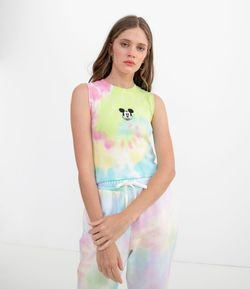 Regata Tie Dye Lisa com Bordado Mickey