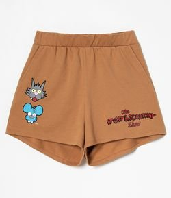 Short Runner Estampa Itchy e Scratchy com Bolsos