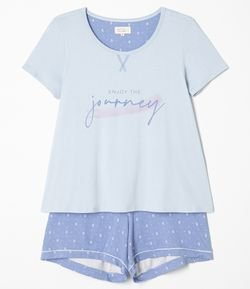 Pijama Manga Curta Estampa Enjoy The Journey com Short