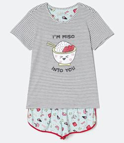 Pijama Manga Curta Listrada Estampa I'm Miso Into You com Short