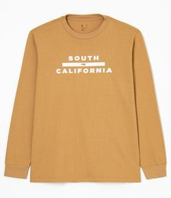 Camiseta Manga Longa com Punho e Lettering South California