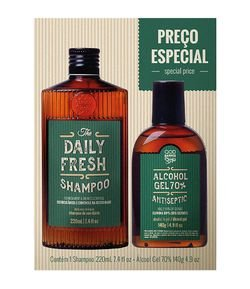 Kit QOD Barber Shop The Daily Fresh Shampoo + Álcool Gel 70%