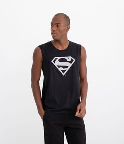Camiseta Regata Estampa Refletiva Superman