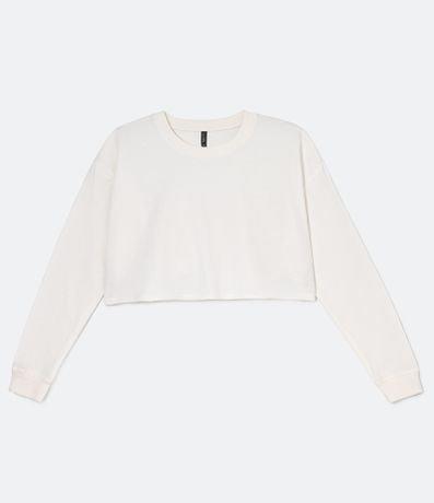 Blusão Cropped Liso em Moletom Comfy