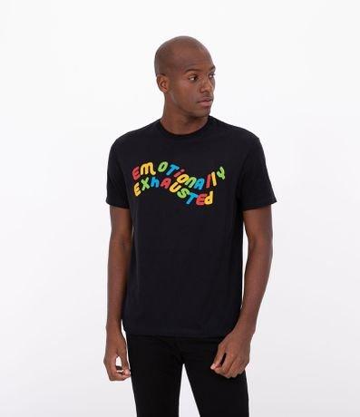 Camiseta Manga Curta Estampa Frase