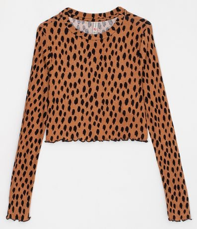 Blusa Cropped Manga Longa Estampa Animal Print