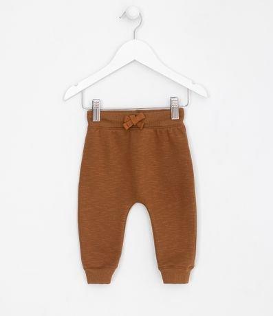 Calça Infantil em Moletom Peluciado Saruel com Bolso Canguru e Punho - Tam 0 a 18 meses