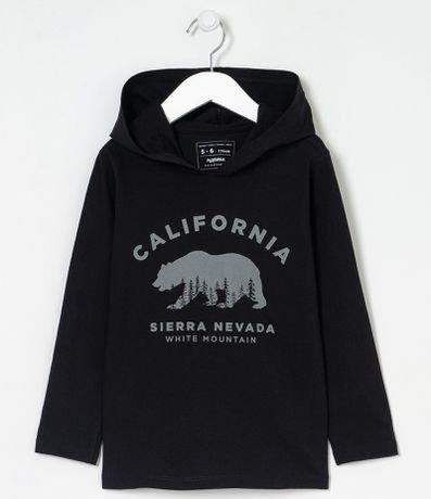 Camiseta Infantil com Capuz Estampa Urso California - Tam 5 a 14 anos