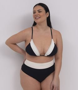 Biquini Calcinha Hot Pants Bicolor Curve & Plus Size