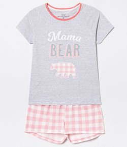 Pijama Short Doll Estampa Urso Mama Bear
