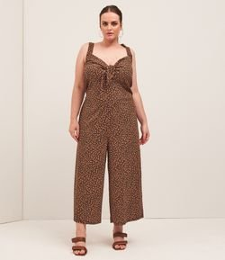 Macacão Pantacourt Sem Mangas Estampa Animal print Curve & Plus Size