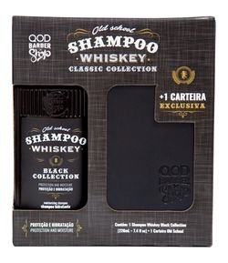 Kit QOD Barber Shop Shampoo Old School Whiskey e Carteira