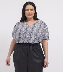 Blusa Manga Curta Bufante Estampa Animal Print Curve & Plus Size