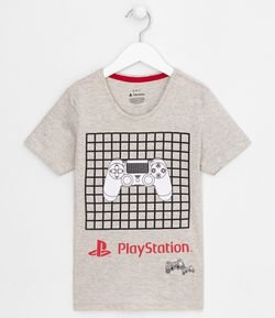 Camiseta Infantil Estampa Playstation Grid  - Tam 5 a 14 anos