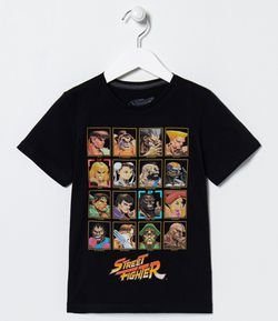 Camiseta Infantil Estampa Street Fighter - Tam 5 a 14 anos