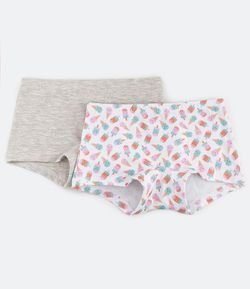 Kit 2 Calcinhas Boxer em Cotton Estampa Picolés e Sorvetes - P ao GG