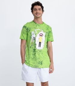 Camiseta Tie Dye Estampa Rick and Morty