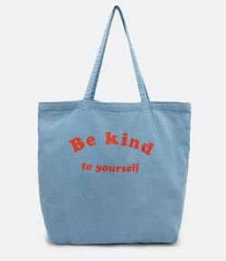 Tote Bag em Algodão Estampado Be Kind to Yourself Viko