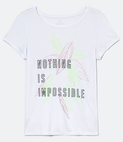 Camiseta Esportiva Manga Curta Estampa Nothing is Impossible