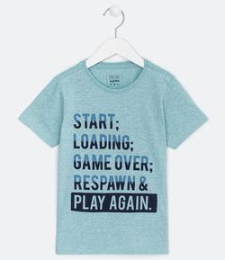 Camiseta Infantil Estampa Game Start Loading- Tam 5 a 14 anos