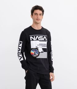 Camiseta Manga Longa Estampa NASA