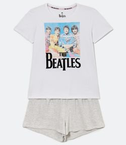 Pijama Manga Curta Estampa The Beatles com Short Liso