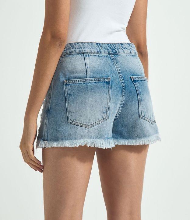 Short Saia Jeans com Puído e Cinto Meia Argola | Blue Steel | Azul | 38