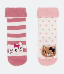 Kit 2 Calcetines Infantil con Traqueteo Gato - Tam 0 a 12 meses